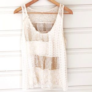 Anthro Tiny M Medium Carmela Tank Ivory, Gold